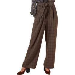 Clothing Women Wide leg / Harem trousers Frnch PAMELIA wide-cut belted trousers Grey