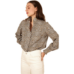 Clothing Women Shirts Frnch CHRISTILLA Leopard Print Long Sleeve Shirt Leopard