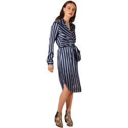Clothing Women Long Dresses Frnch Striped belted dress with stripes ABELINIA Blue