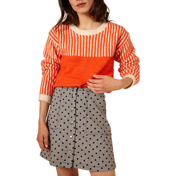 Clothing Women Skirts Frnch Flared short skirt with buttons and polka dots ELIANNE Grey