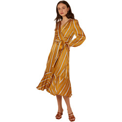 Clothing Women Long Dresses Frnch ANE Striped Long Sleeve Belted Dress Yellow
