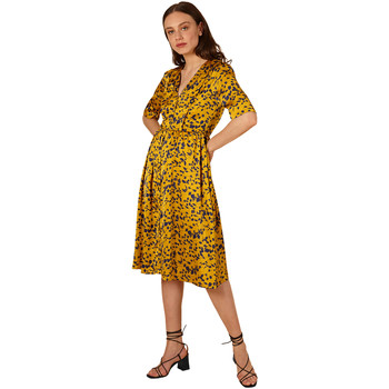 Clothing Women Short Dresses Frnch V-neck mid-length dress with ABELONE print Yellow