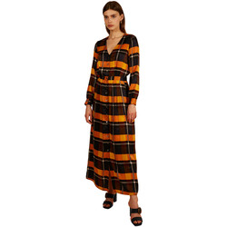 Clothing Women Long Dresses Frnch Long V-neck dress with checkered ABERTE Orange