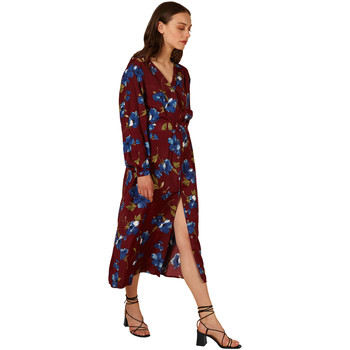 Clothing Women Long Dresses Frnch Belted V-neck dress with long sleeves printed ABIGAELLE Dark purple