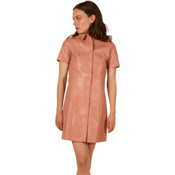 Clothing Women Short Dresses Frnch ADELISE short sleeve leather short dress Coral
