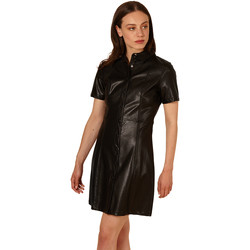 Clothing Women Short Dresses Frnch ADELISE short sleeve leather short dress Black