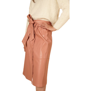 Clothing Women Skirts Frnch ERMINE mid-length leather belted skirt Coral