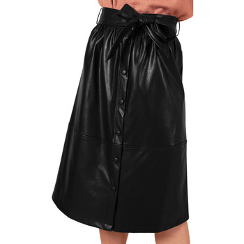 Clothing Women Skirts Frnch ERMINE mid-length leather belted skirt Black