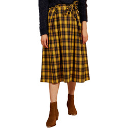 Clothing Women Skirts Frnch EDA Plaid Belted Mid-Length Skirt Yellow