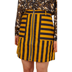 Clothing Women Skirts Frnch Striped mini skirt EMANUELLE Yellow