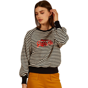 Clothing Women sweaters Frnch NELIA striped long-sleeved round neck sweatshirt Navy blue
