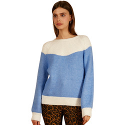Clothing Women jumpers Frnch Long-sleeved bi-color crew neck sweater in NIGELLE knit Blue
