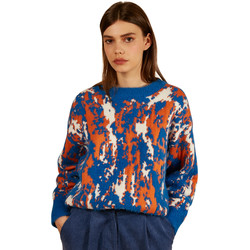 Clothing Women jumpers Frnch Patterned long-sleeved sweater NADERA Blue