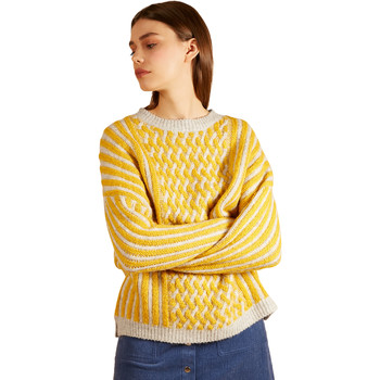Clothing Women sweaters Frnch Long-sleeved crew neck sweater in striped knit NADETTE Grey