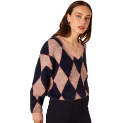 Clothing Women jumpers Frnch V-neck long-sleeved checkered sweater NADINA Pink
