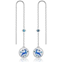 Watches Women Earrings Blue Pearls CRY E394 J Blue