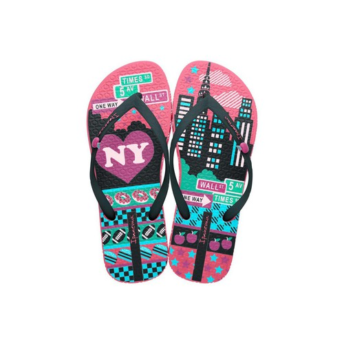 Shoes Women Flip flops Ipanema Pink and Black flip flops Unique III PINK