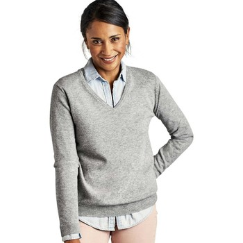 Clothing Women jumpers Woolovers Cashmere and Merino V Neck Knitted Sweater Grey