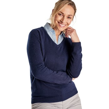 Clothing Women Jumpers Woolovers Cashmere and Merino V Neck Knitted Sweater Blue