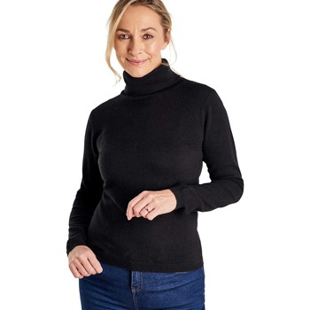 Clothing Women Jumpers Woolovers Cashmere and Merino Fitted Polo Neck Knitted Jumper Black