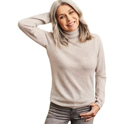 Clothing Women Jumpers Woolovers Cashmere and Merino Fitted Polo Neck Knitted Jumper Grey