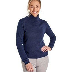 Clothing Women Jumpers Woolovers Cashmere and Merino Fitted Polo Neck Knitted Jumper Blue