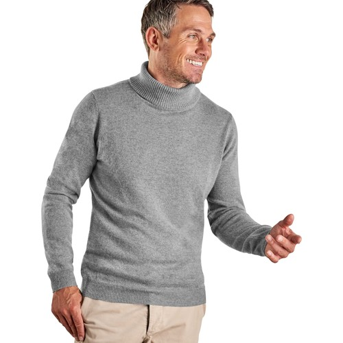 Clothing Men Jumpers Woolovers Cashmere and Merino Polo Neck Jumper Grey