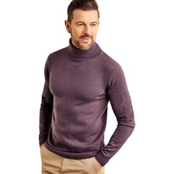Clothing Men Jumpers Woolovers Cashmere and Merino Polo Neck Jumper Purple