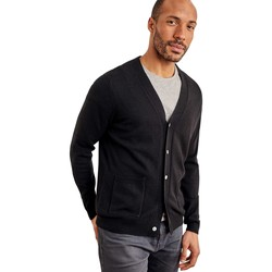 Clothing Men Jackets / Cardigans Woolovers Cashmere and Merino V Neck Cardigan Black
