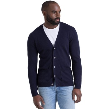Clothing Men Jackets / Cardigans Woolovers Cashmere and Merino V Neck Cardigan Blue
