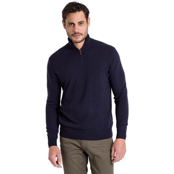 Clothing Men jumpers Woolovers Cashmere and Merino Zip Neck Jumper Blue