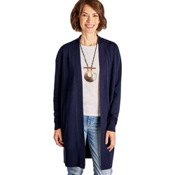 Clothing Women Jackets / Cardigans Woolovers Cashmere and Merino Edge to Edge Long Cardigan Blue