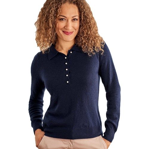 Clothing Women Long-sleeved polo shirts Woolovers Cashmere and Merino Knitted Polo Shirt Blue