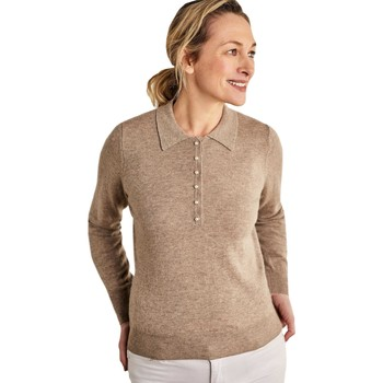 Clothing Women Short-sleeved polo shirts Woolovers Cashmere and Merino Knitted Polo Shirt BEIGE