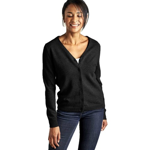 Clothing Women Jackets / Cardigans Woolovers Cashmere Merino Classic V Neck Cardigan Black