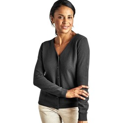 Clothing Women Jackets / Cardigans Woolovers Cashmere Merino Classic V Neck Cardigan Grey