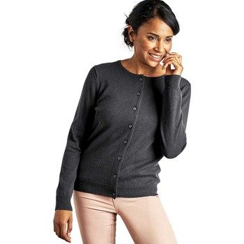 Clothing Women Jackets / Cardigans Woolovers Cashmere Merino Classic Crew Neck Cardigan Grey