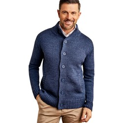 Clothing Men Jackets / Cardigans Woolovers Pure Wool Button Everyday Cardigan Blue