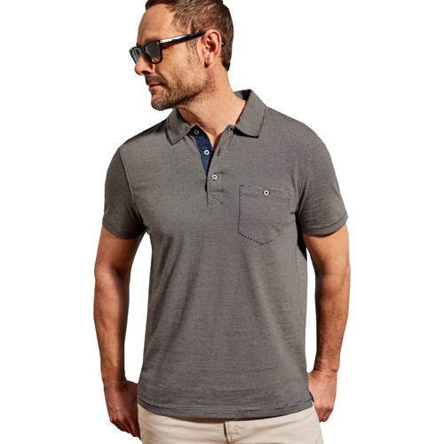 Clothing Men Short-sleeved polo shirts Woolovers Jersey Space Dye Stripe Polo T-Shirt Grey