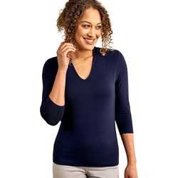 Clothing Women Tops / Blouses Woolovers Jersey High V Neck Top Blue