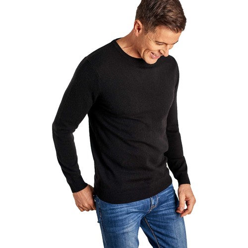 Clothing Men Jumpers Woolovers Cashmere and Merino Crew Neck Jumper Black