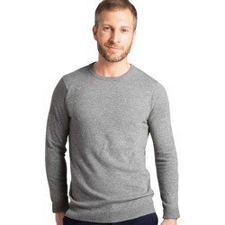 Clothing Men Jumpers Woolovers Cashmere and Merino Crew Neck Jumper Grey