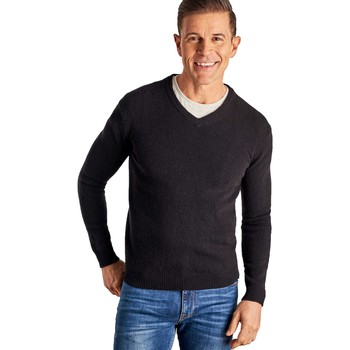 Clothing Men jumpers Woolovers Cashmere and Merino V Neck Knitted Sweater Black