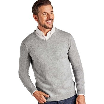 Clothing Men Jumpers Woolovers Cashmere and Merino V Neck Knitted Sweater Grey