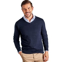 Clothing Men jumpers Woolovers Cashmere and Merino V Neck Knitted Sweater Blue