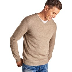 Clothing Men jumpers Woolovers Cashmere and Merino V Neck Knitted Sweater BEIGE