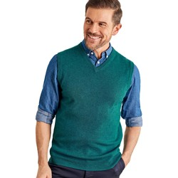 Clothing Men Jackets / Cardigans Woolovers Cashmere and Merino Slipover Green