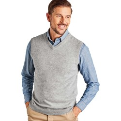 Clothing Men jumpers Woolovers Cashmere and Merino Slipover Grey