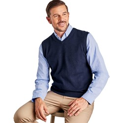 Clothing Men Jumpers Woolovers Cashmere and Merino Slipover Blue
