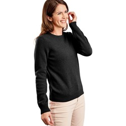 Clothing Women Jumpers Woolovers Lambswool Crew Neck Jumper Black